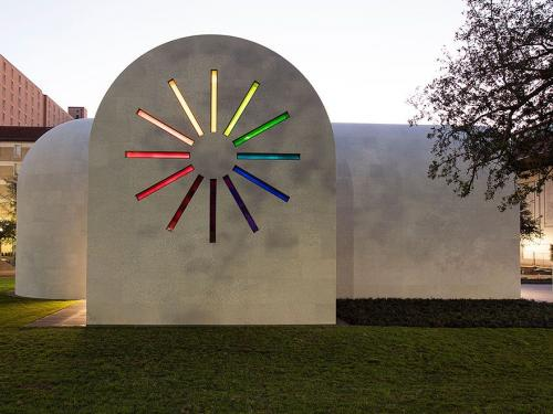 image of the Ellsworth Kelly's Austin structure with stained glass windows at dusk