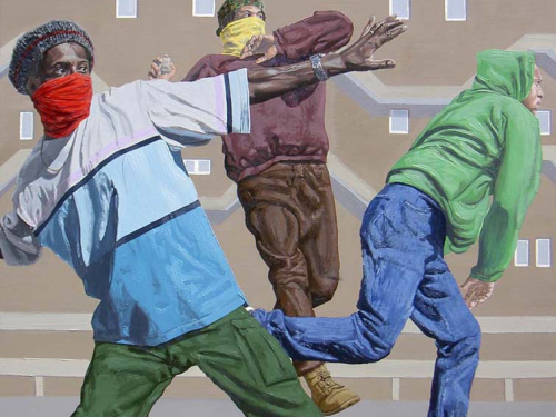 Kimathi Donkor painting titled Coldharbour Lane from 1985 (2005) depicting three black male figures in acts of resistance
