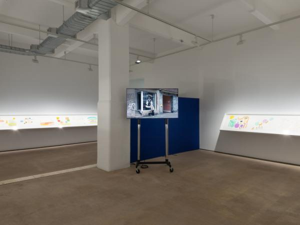 installation view of UT Austin Studio Art Professor and performance artist Michael Smith's latest solo exhibition at Hales London gallery titled Yet another show of drawings and videos reflecting on youth, ageing and a future of retirement by Michael Smit
