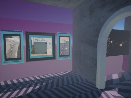 Image of virtual art exhibition created in Unity by Katy McCarthy on behalf of students from the Department of Art and Art History Studio Art courses in Painting and Print