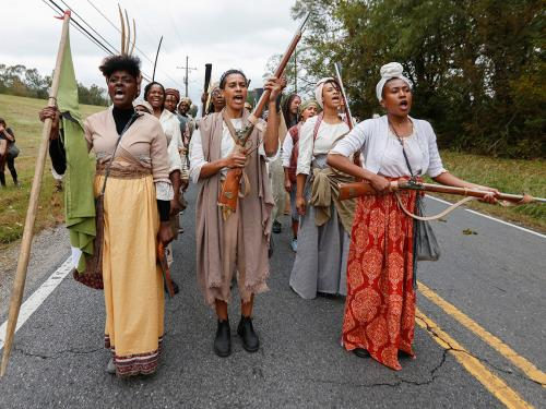 Image of Dread Scott's performance Slave Rebellion Reenactment, Nov. 8-9, 2019, in New Orleans which University of Texas at Austin alumnus Noah Simblist discusses in Art in America