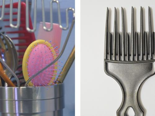 two images of brushes and combs side by side