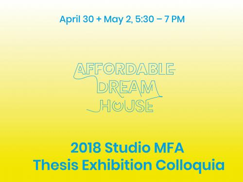 gradient background in a dreamy bright yellow to white with blue typographic of words affordable dream house colloquium