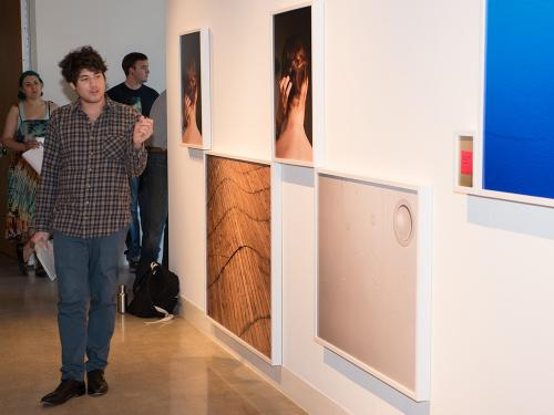 MFA candidate presenting work during gallery talk
