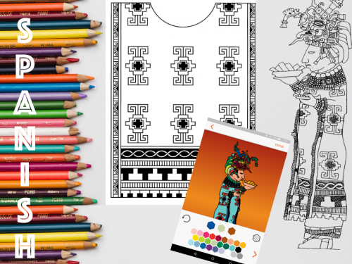 graphic for a workshop depicting maya hieroglyphics and coloring pencils for an international archaeology day workshop with the university of texas at austin mesoamerica center aligned on the side reads text that says Spanish