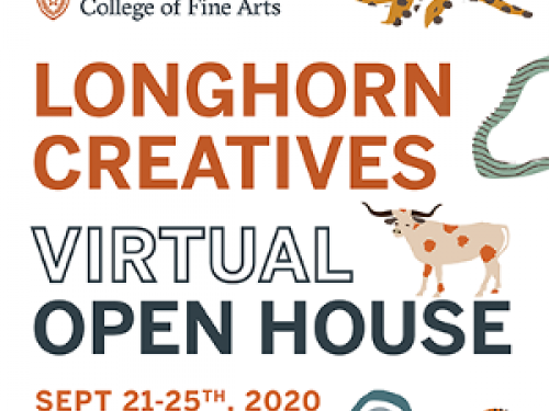 graphic with text that reads Longhorn Creative Open House and features little longhorn and leafy illustrations