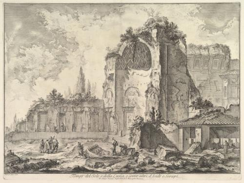 black and white print of the temple of Venus and Roma by Giovanni Battista Piranesi Art History lecture UT Austin