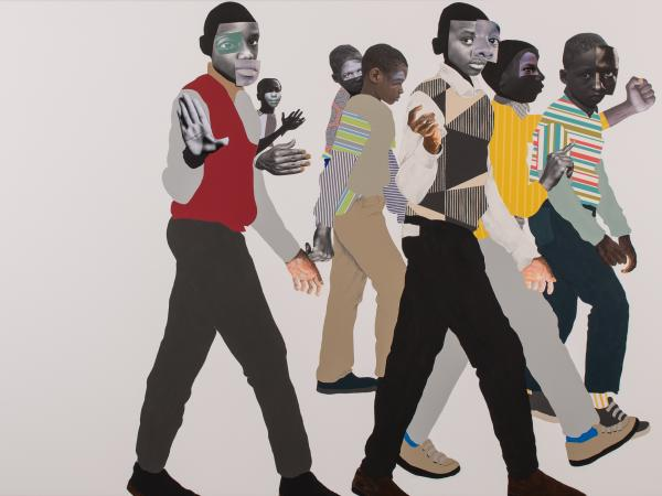 Collage piece from mixed media artist Deborah Roberts featuring a cluster of moving figures on the right side of the panel