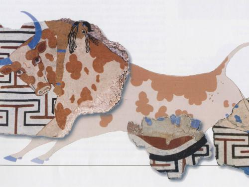fresco of a bull leaping a part of Minoan wall paintings Egypt Egyptian Tell el-Dab'a Avaris