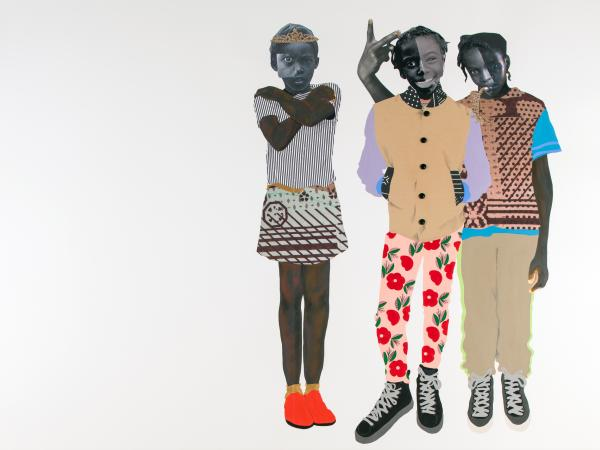 collage piece from mixed media artist Deborah Roberts featuring a cluster of three figures