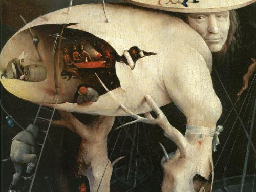 Garden of Earthly Delights painting by Hieronymus Bosch featuring a ladder