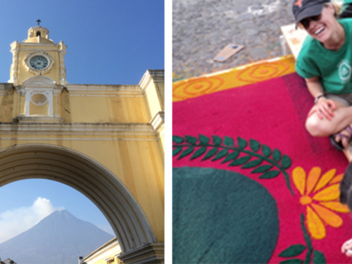diptych image of a bridge from below and a student working on an alfombra during UT Austin's study abroad program in Guatemala