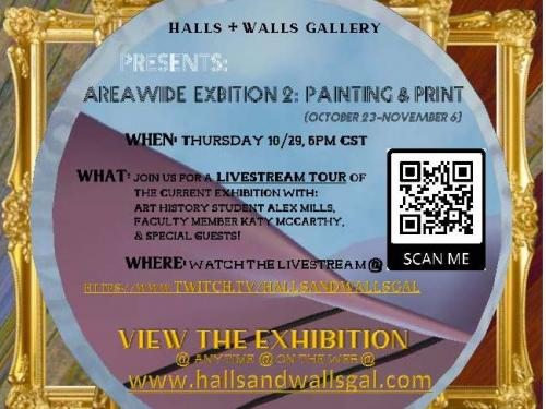 poster graphic for a virtual tour that features layered digital frames and text describing virtual Halls and Walls gallery tour event