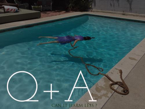 "woman in pool in purple dress overlayed with text ""Q and A"""