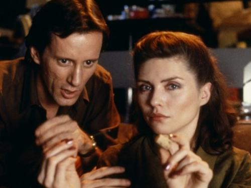 film still from seminal movie Videodrome being screened by the UT Visual Arts Center