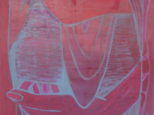 painting full of gestures of pinks reds and lavender that explore the erotics of the gaze