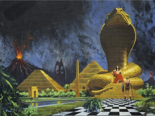 science fiction esque illustration of an ancient world populated by volcanos, pyramids and giant sphinx statues