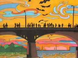 coloring book Austin bat bridge scene