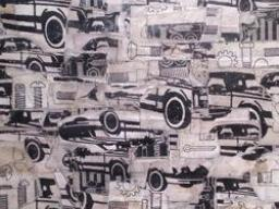 Art work that entails a multiple black and white images of cars and screws in a collage format