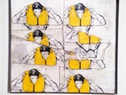 Art with people wearing life jackets