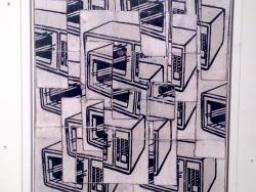 black and white print of fragmented microwave